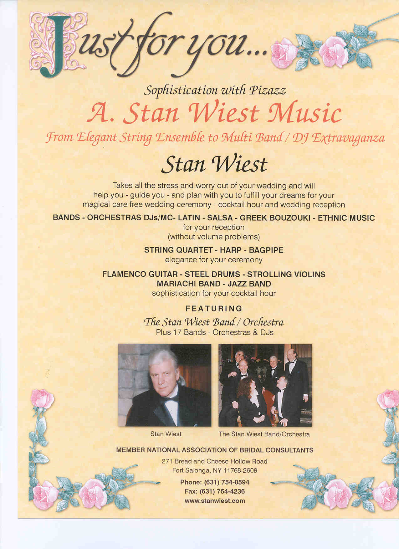 A Stan Wiest Music Entertainment Flyer Information